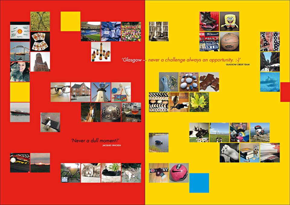 One of the spreads with 'Signature pictures' of team members and quotes from teams in 'Project 435>22>1: My favourite place in my city' - A project for and by the Shell Europe Africa Credit Team - Privately published in 2013 by Shell Downstream Services International B.V. The Netherlands - Project concept, coordination & graphic design: Erik Cox