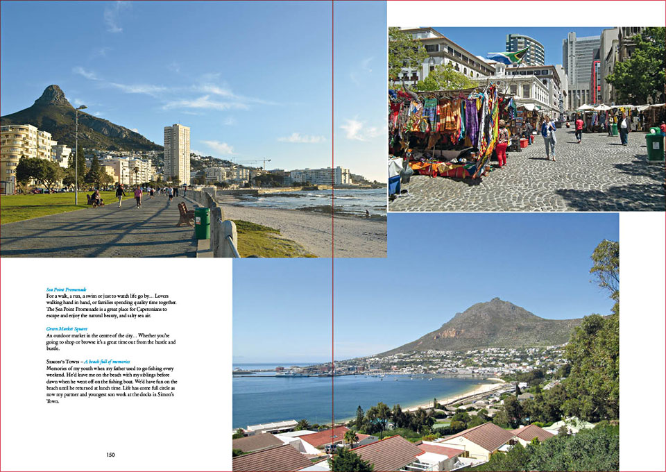 One of the Cape Town spreads from 'Project 435>22>1: My favourite place in my city' - A project for and by the Shell Europe Africa Credit Team - Privately published in 2013 by Shell Downstream Services International B.V. The Netherlands - Project concept, coordination & graphic design: Erik Cox