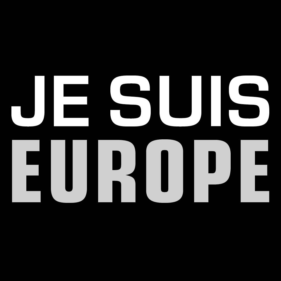 Je suis Europe in typeface Eurostile, a font designed by Aldo Novarese in 1962