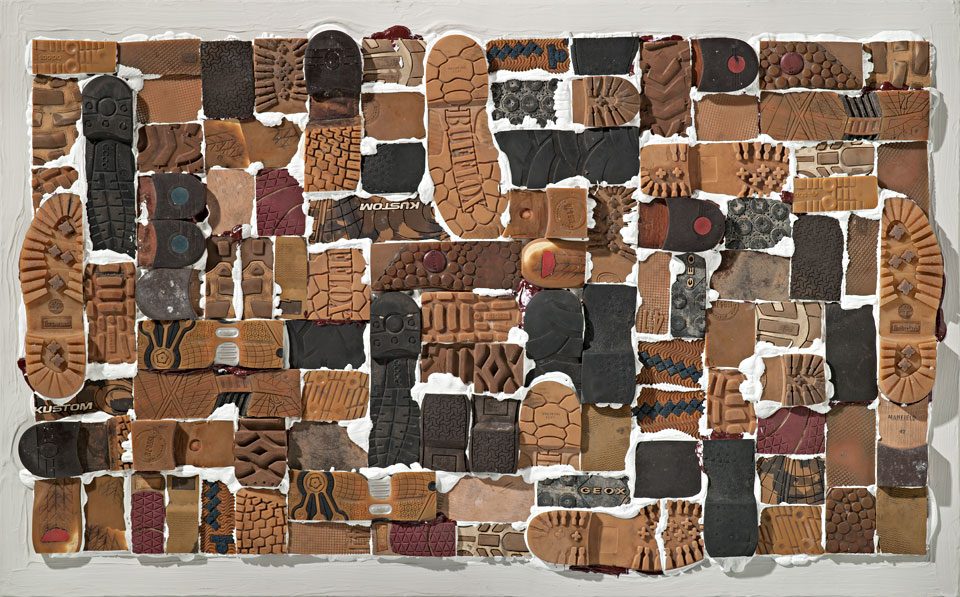 Miles and Miles #9: 29 pairs - acrylic, leather and rubber on linen - by Erik Cox