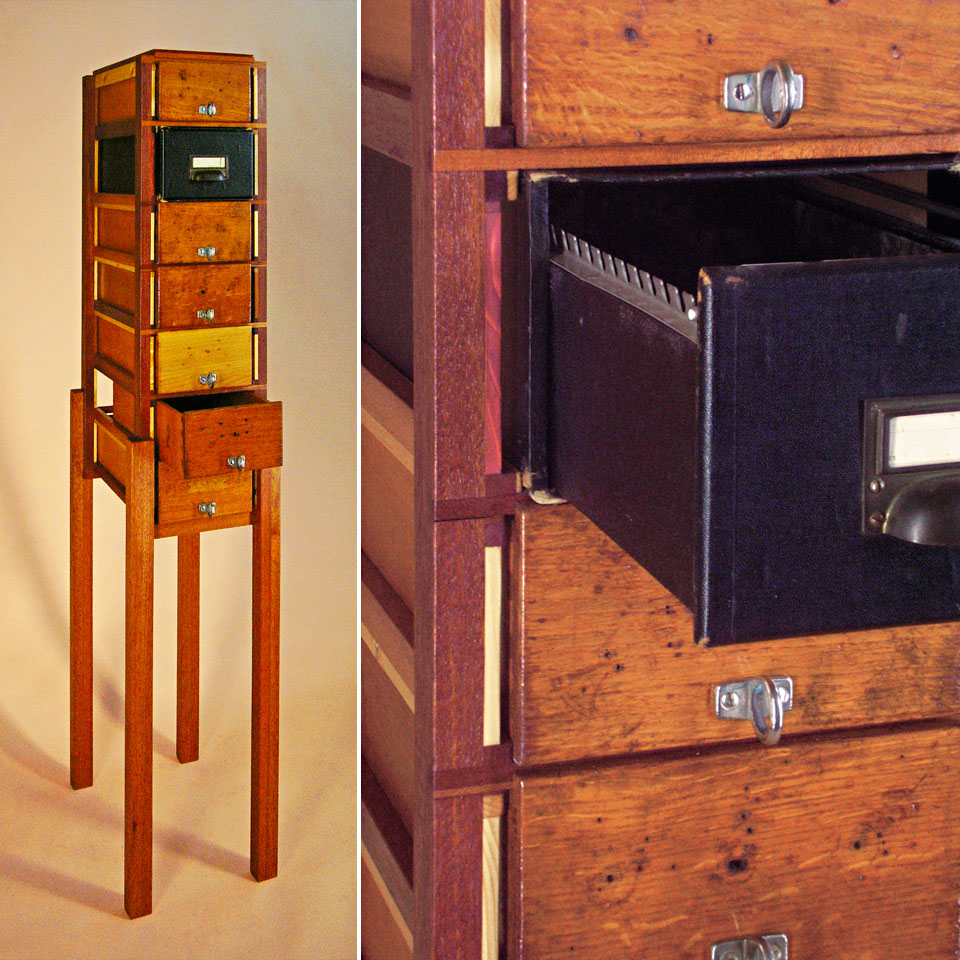 Hybrid Drawers with Pull-Drawer Card File - recycled wood and drawers, reworked and finished - by Erik Cox