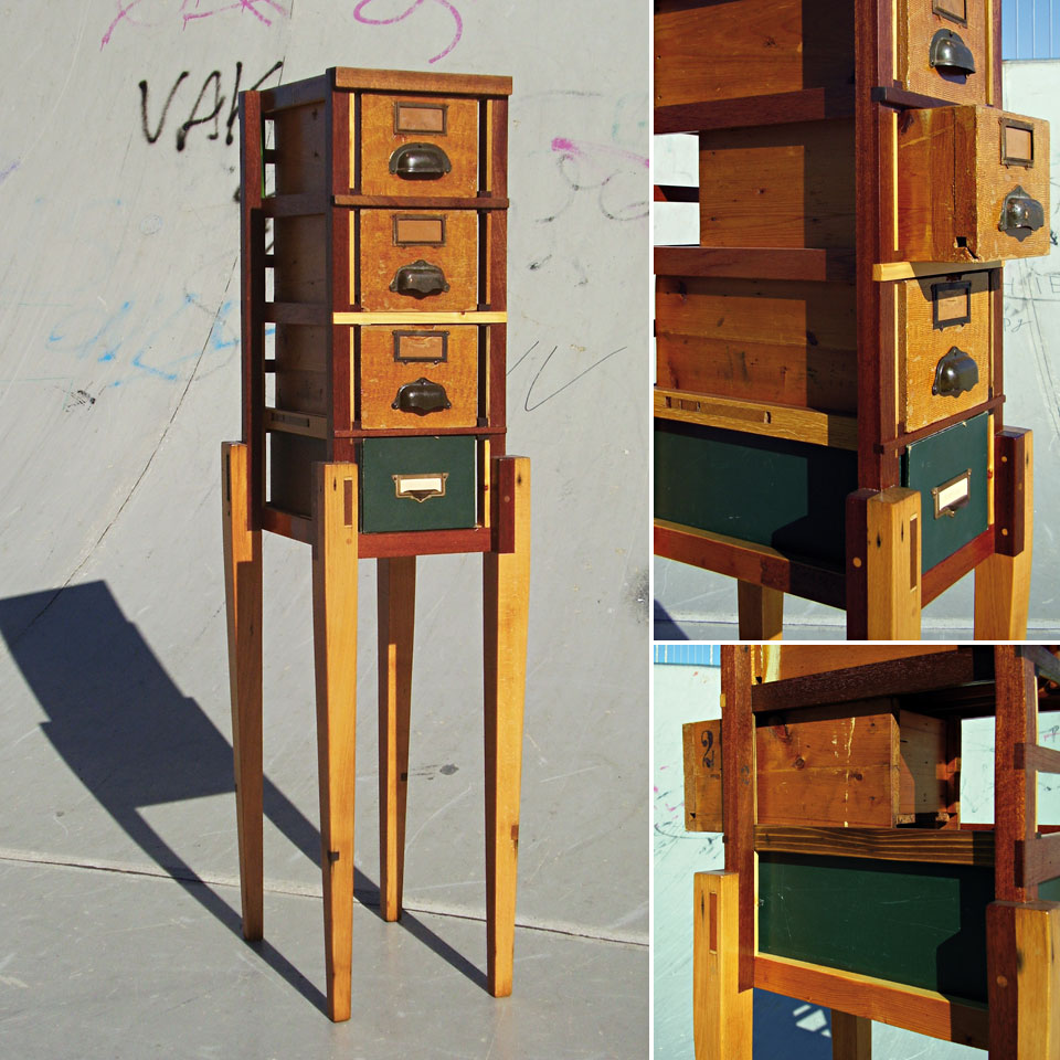 Hybrid Drawers with Pull-Drawer Card File #2 - recycled wood, found legs and drawers, reworked and finished - by Erik Cox