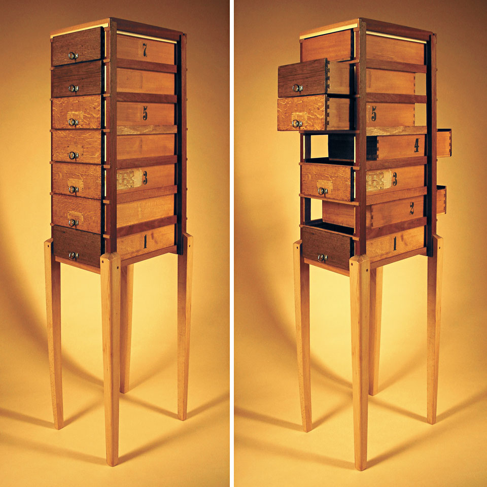 Hybrid Drawers - Dualis - recycled wood, found legs and drawers, reworked and finished - by Erik Cox