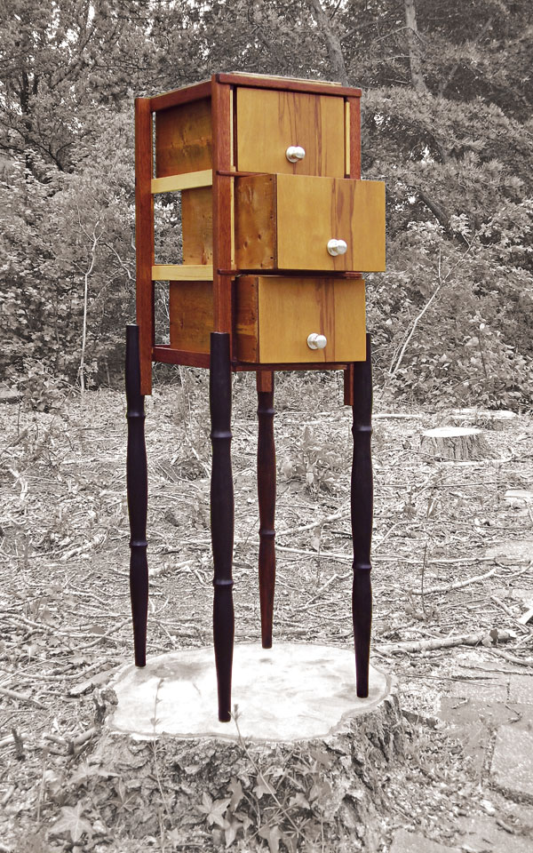 Hybrid Drawers Margreet - recycled wood, found legs and drawers, reworked and finished - by Erik Cox