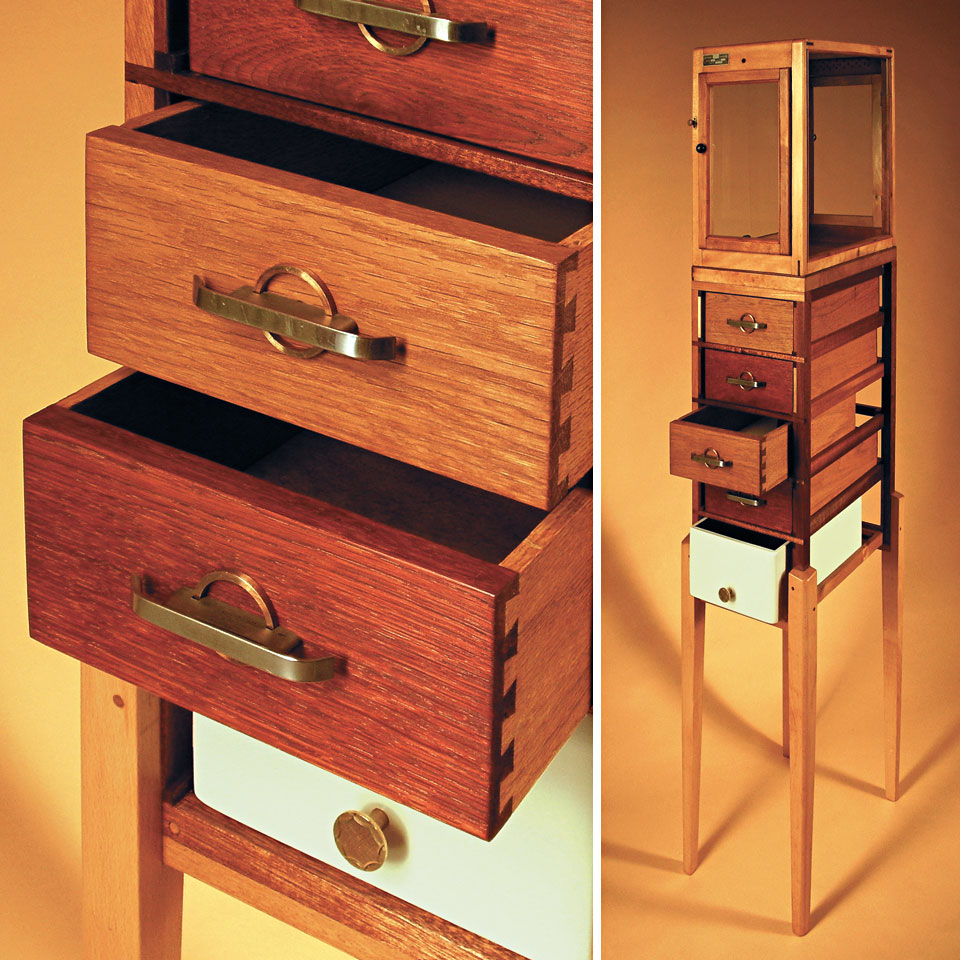 Hybrid Drawers - Simec, Leipzig, 1952 - recycled wood, found legs and drawers, reworked and finished - by Erik Cox
