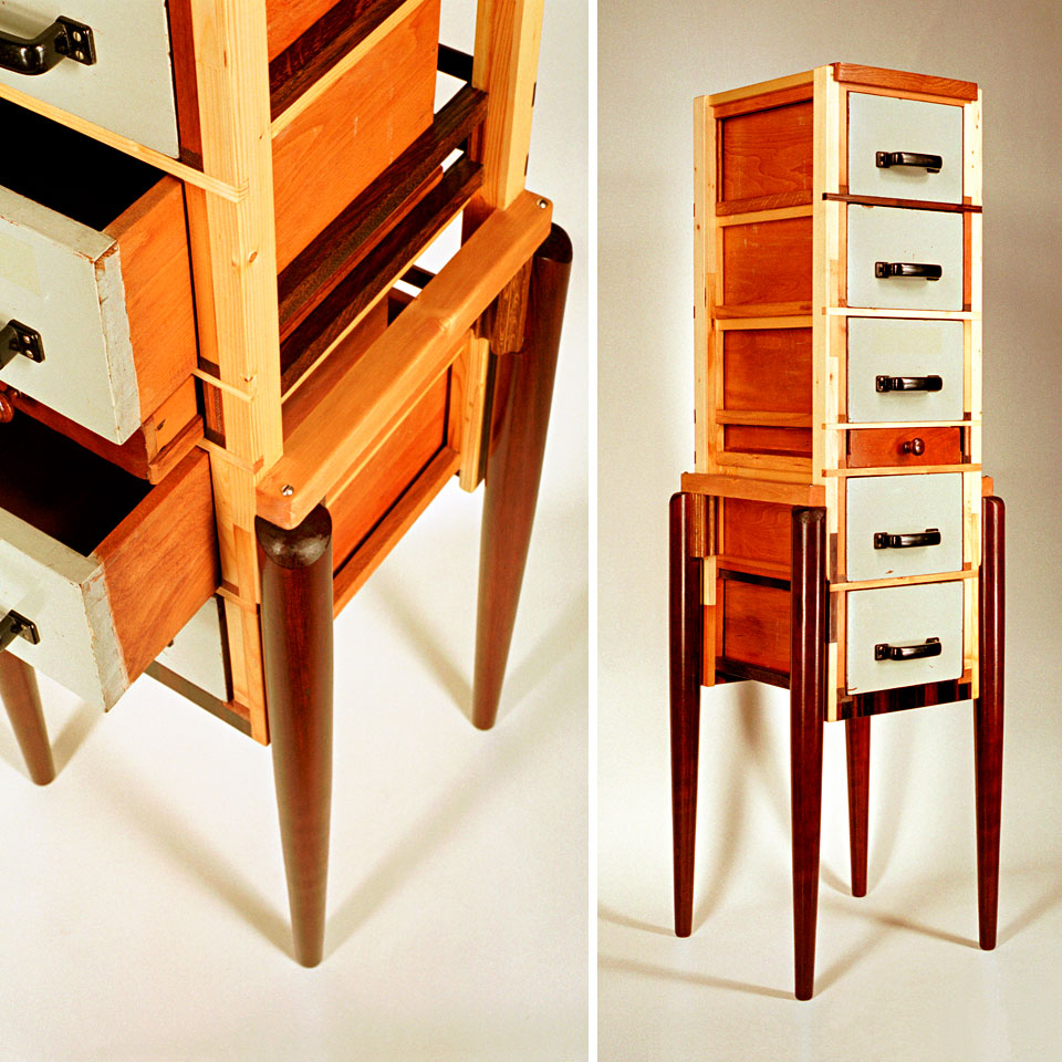 Hybrid Drawers Van der Toorn - recycled wood, found legs and drawers, reworked and finished - by Erik Cox