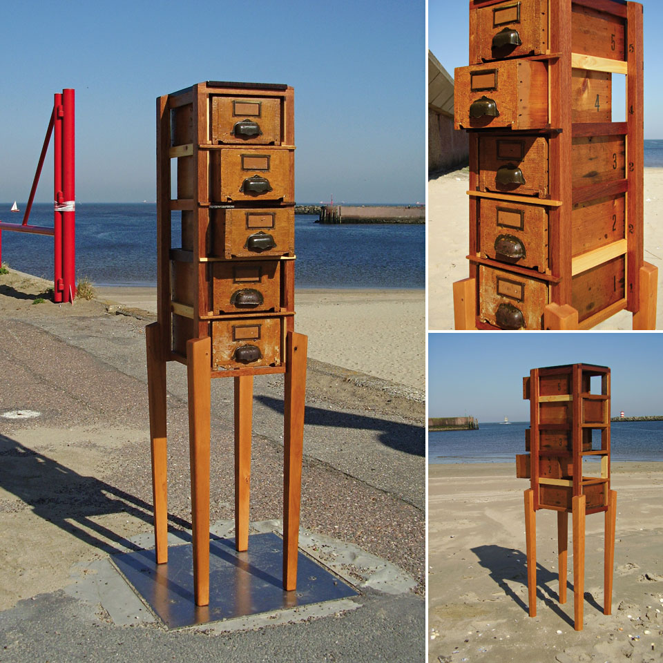 Hybrid Drawers with Limewood - recycled wood, found legs and drawers, reworked and finished - by Erik Cox