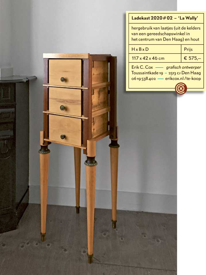 Hybrid Drawers 2020#02 'La Wally' - recycled wood, found legs and drawers, reworked and finished - by Erik Cox