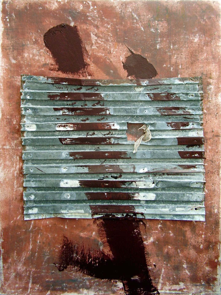 Burnt Umber with Lewis Dovetailed Sheet - acrylic, steel and cloth on linen - painting by Erik Cox