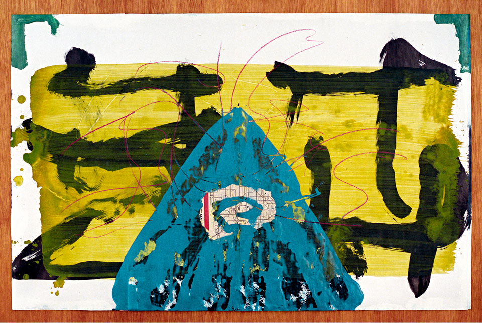 Blue Triangle with Newspaper Sign - acrylic, watercolor, paper, color pencil and ink on paper - werk op papier van Erik Cox